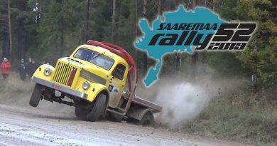 Saaremaa-rallissa mukana monenlaista ratinkääntäjää – yksi Neuvostoliiton aikainen GAZ-kuormuri suistui jokeen (video)