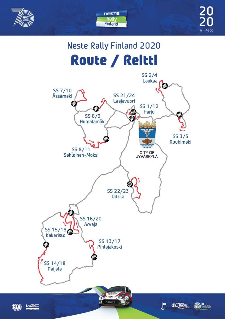 Suomen MM-rallin reittikartta