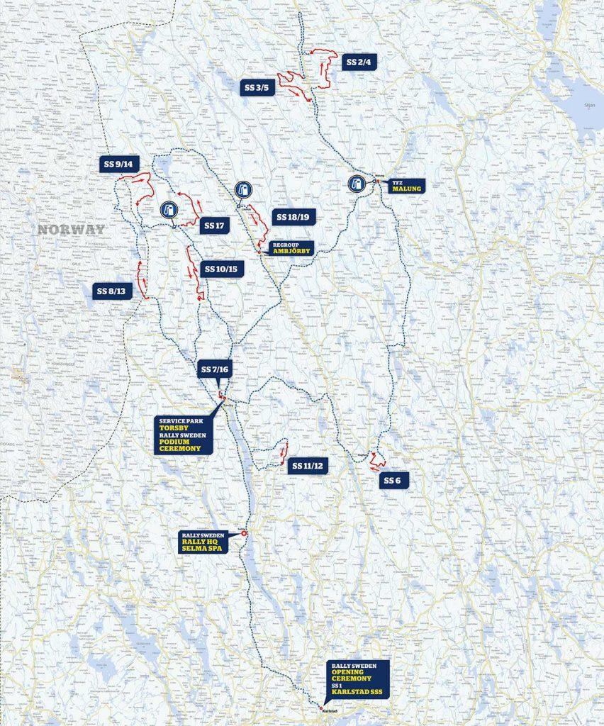 Ruotsin MM-rallin reittikartta